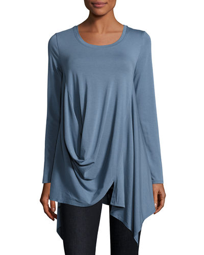 Scoop-Neck Draped Knit Tunic, Batik