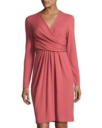 Faux-Wrap Long-Sleeve Dress