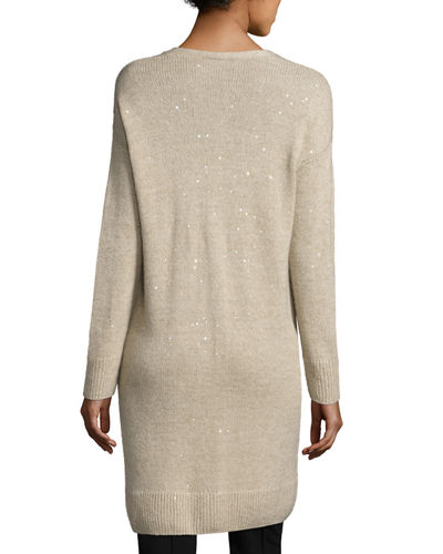 Cashmere-Silk Sparkle Duster Sweater