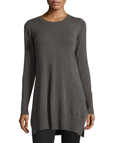 Long-Sleeve Side-Slit Knit Tunic