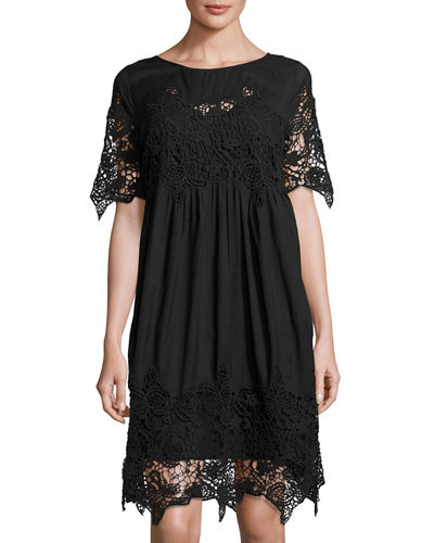 Lace Inset Cotton Dress