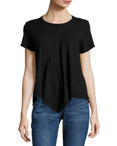 Asymmetric Short Sleeve Cotton Tee