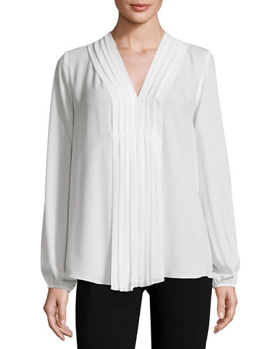 Pleat-Front Long-Sleeve Blouse