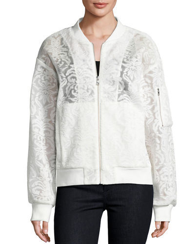 Baroque Voile Bomber Jacket Off White