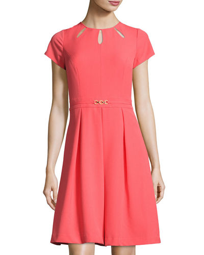 Kyhl Fit-and-Flare Short-Sleeve Dress, Coral
