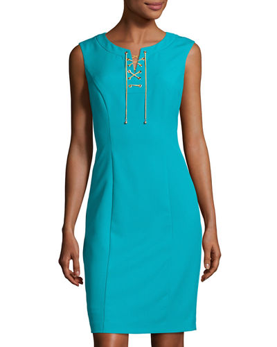 Sleeveless Lace-Up Sheath Dress, Turquoise