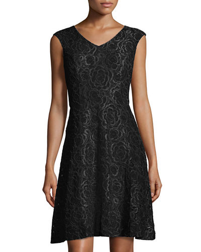 Cap-Sleeve Lace Fit-and-Flare Dress, Cobalt