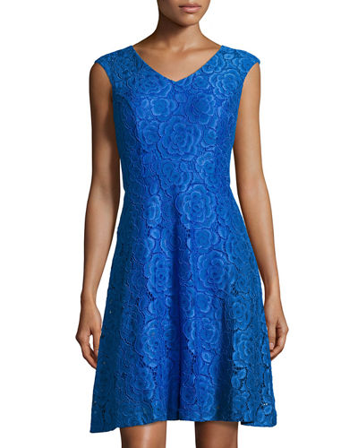 Cap-Sleeve Lace Fit-and-Flare Dress