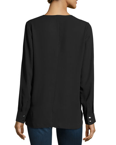 Long-Sleeve Faux-Wrap Blouse