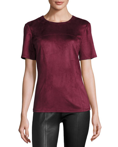 Fitted Faux-Suede Tee