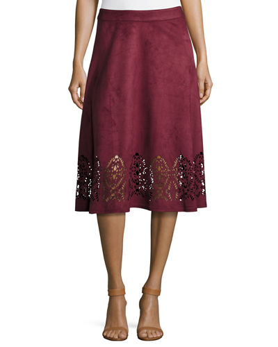 Faux-Suede Flared Midi Laser-Cut Skirt