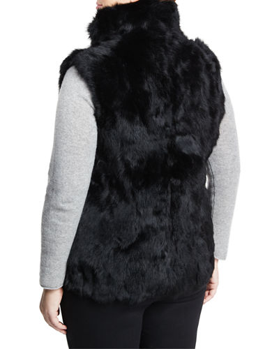 Stand-Collar Rabbit-Fur Vest, Plus Size