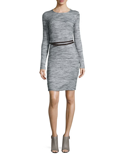 Jennifer Long-Sleeve Belted Sweaterdress
