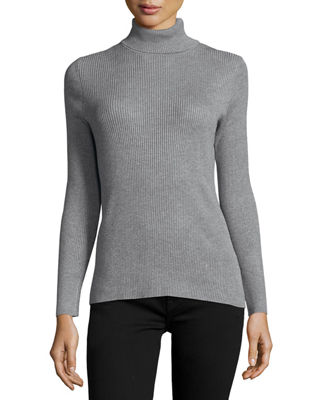 Neiman Marcus Ribbed Turtleneck Sweater