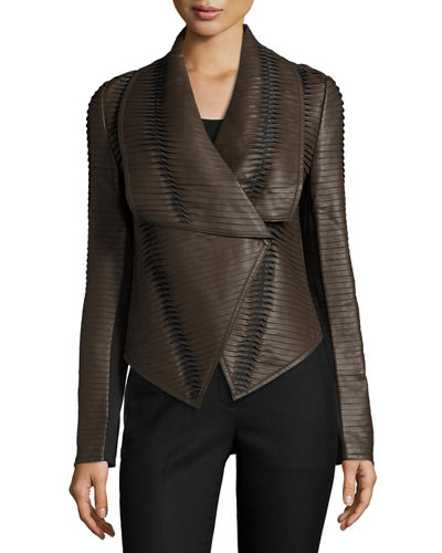 Faux Leather Striped Drape Front Jacket Brown