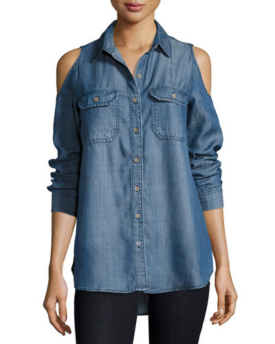 Finley Cold-Shoulder Chambray Blouse