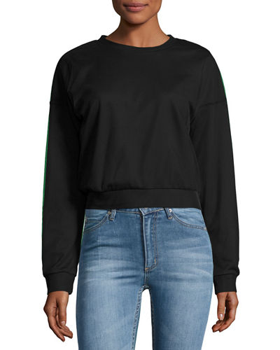 Mirage Mesh-Overlay Crop Sweater