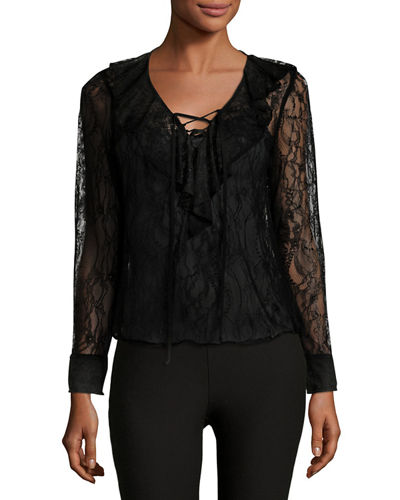 Ruffle-Front Lace Blouse