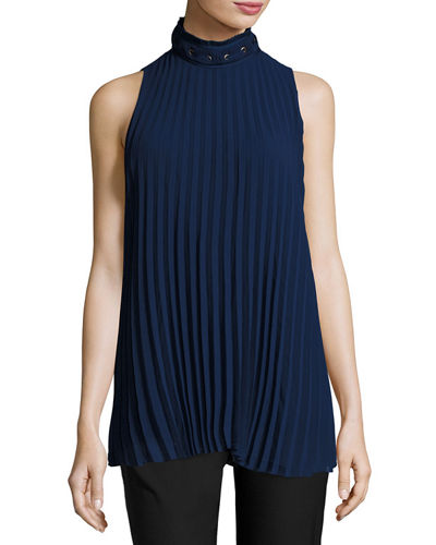 Sleeveless Pleated High-Neck Blouse, Purple Blue