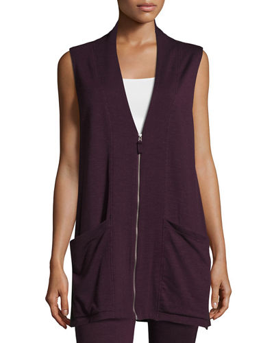 Sleeveless Terry Zip-Front Cardigan