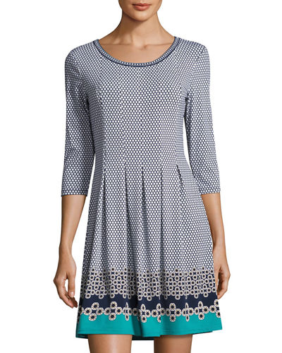 3/4-Sleeve Tuck-Pleat Printed Jersey Dress