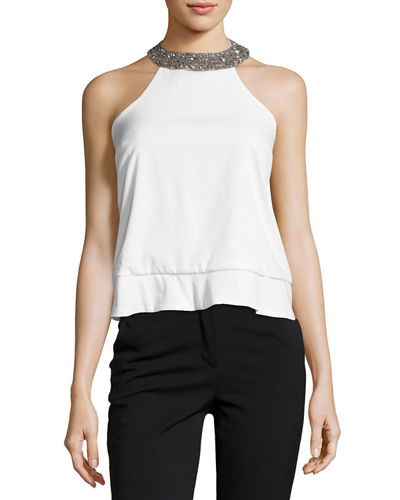 Beaded-Trim Halter Top