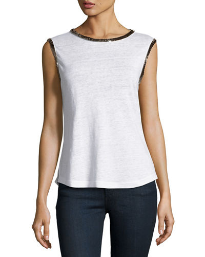 Beaded Trim Jersey Top
