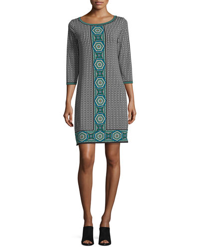 Geometric-Print Jersey Shift Dress