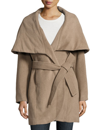 Marla Wool-Blend Belted Cocoon Jacket