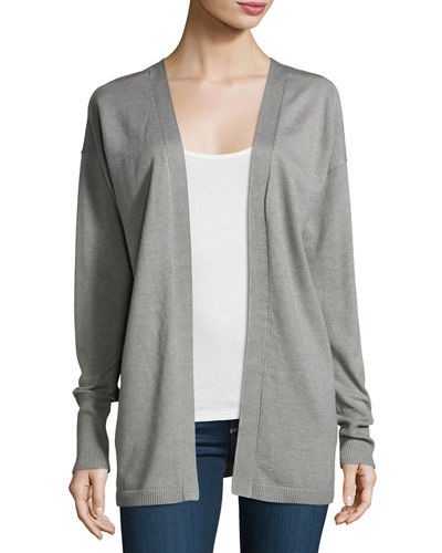 Lace-Up-Back Open-Front Cardigan