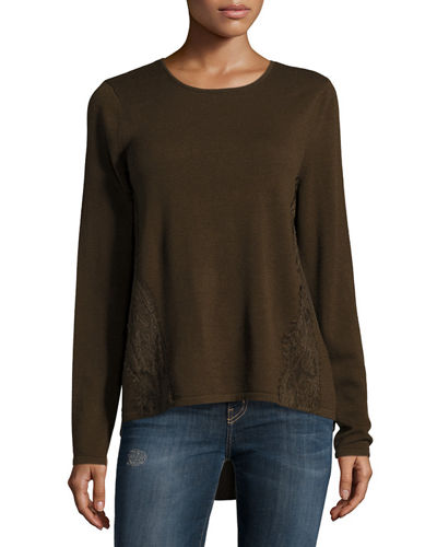 Lace Trim Crepe Panel Sweater