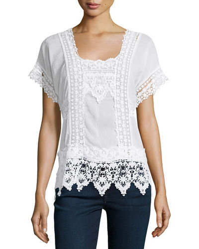 Short-Sleeve Lace-Inset Top
