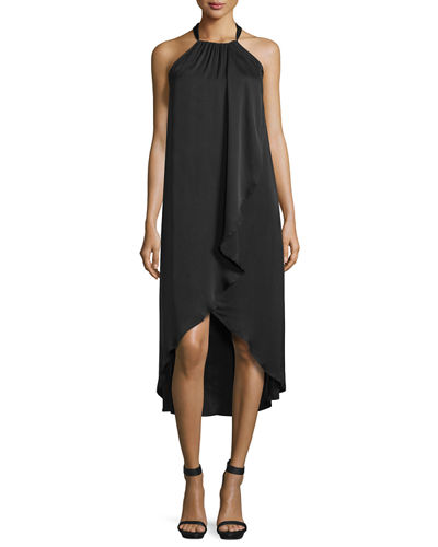 Seti Drape-Front Halter-Neck Dress