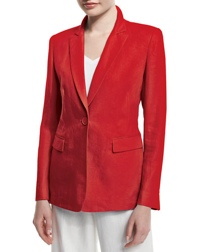 Mackenzie Lavish One-Button Linen Jacket