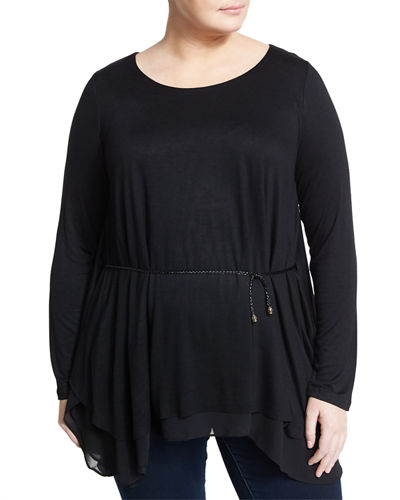 Long Sleeve Tunic w/Belt Plus Size