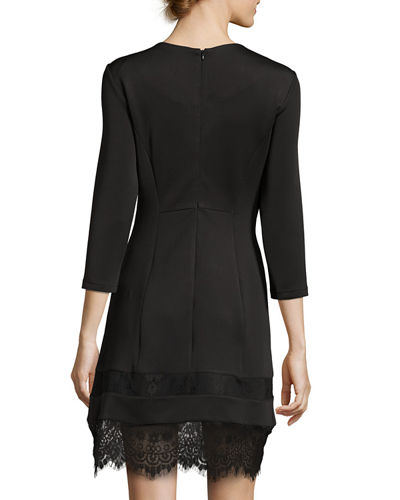 3/4-Sleeve Round-Neck Lace-Trim Dress