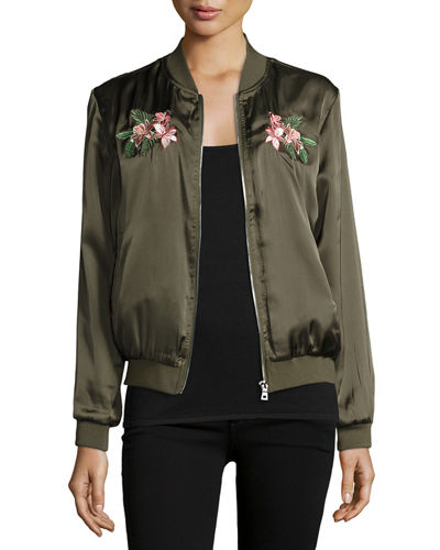 Floral-Embroidered Bomber Jacket