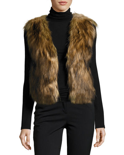 Faux-Fur Collarless Cropped Vest