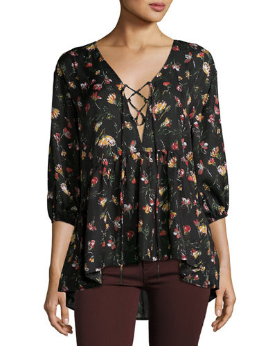 Lace-Up Floral-Print Blouse
