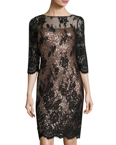 Sequined Dress w/Floral-Lace Overlay