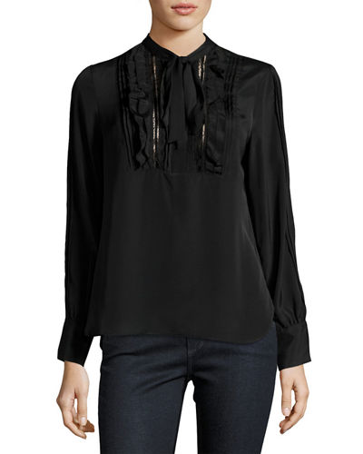 Long-Sleeve Tie-Neck Ruffled Victorian Blouse