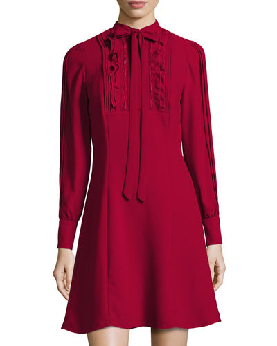 Pintucked-Bib Long-Sleeve Dress
