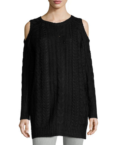 Cold Shoulder Cable Knit Sweater Dress