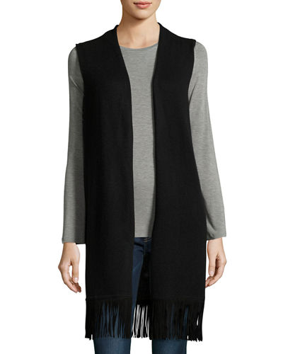 Cashmere Long Vest with Suede Fringe Trim