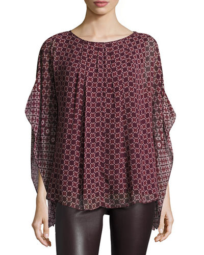 Geometric-Print Georgette Poncho Top