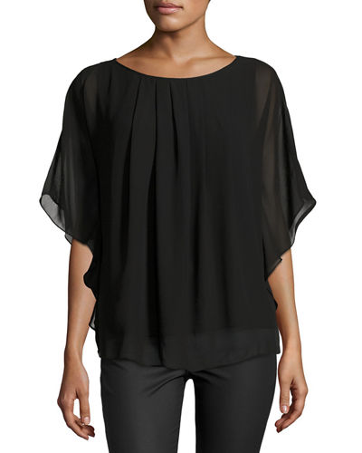 Pleated Georgette Poncho Top