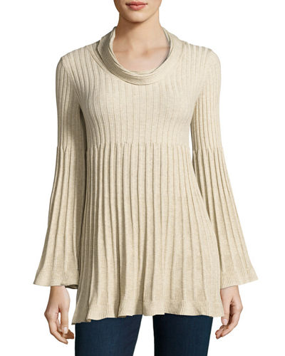 Cowl-Neck Bell-Sleeve Tunic