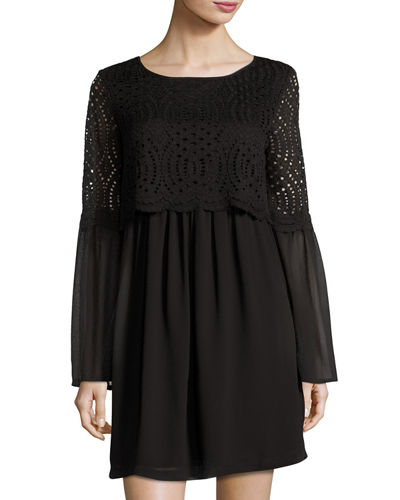Georgette Bell-Sleeve Lace-Popover Dress