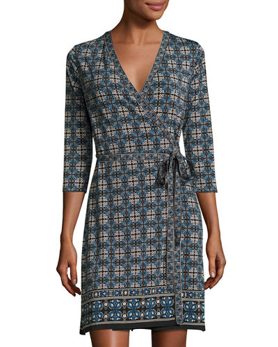 Printed 3/4-Sleeve Wrap Dress