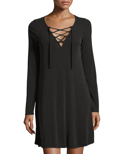 Cena Lace Up Ribbed Dress